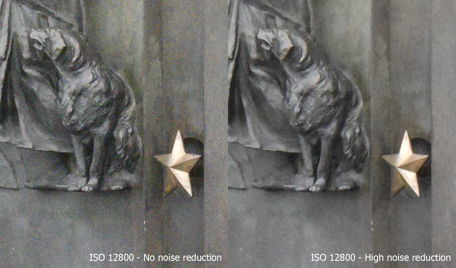 Nikon D810 ISO test crop comparsion with and without noise reduction